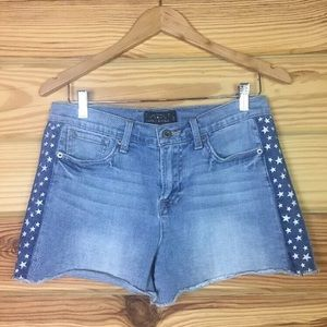 Lucky Brand Blue Jean Shorts Embroidered Stars